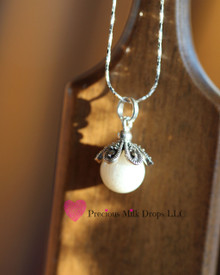 Petals of love 10mm Milk Drop - Sterling Silver