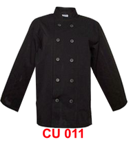 Chef Jacket Long Sleeve Plain Black (Normal Cutting)
