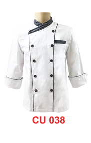 White Jacket with Stripe 2 Lines (Normal Cutting)