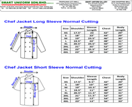 Chef Jacket Long & Short Sleeve Measurement (Normal Cutting)