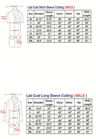 Male Lab Coat Measurement Table