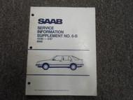 1985 86 1987 Saab 9000 Service Information Supplement NO. 6-B Manual FACTORY 87