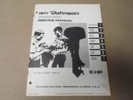 1971 Johnson Outboards Service Repair Shop Manual 6 HP 6R71 6RL71 OEM Boat x