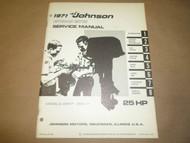1971 Johnson Outboards Service Shop Repair Manual 25 HP 25R71 25RL71 OEM Boat x