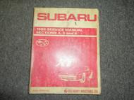 1989 Subaru XT Section 4 5 6 Service Repair Shop Manual FACTORY OEM BOOK 89 DEAL