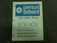 1971 Chrysler Outboard 85 HP Parts Catalog Manual OEM Book