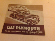 1940 Plymouth Full Line All Models SALES BROCHURE ORIGINAL NO REPRINT MOPAR OEM