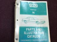 1992 PONTIAC N BODY GRAND AM Parts & Illustration Catalog Manual DEALERSHIP BOOK