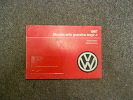 1987 VOLKSWAGEN Models with Gasoline Engine Maintenance Manual OEM FACTORY 87