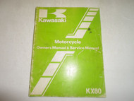1982 Kawasaki KX80 Motorcycle Owners Manual & Service Manual FADED STAINED OEM