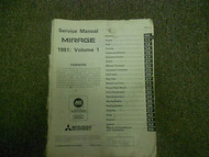 1991 MITSUBISHI Mirage Service Repair Shop Manual Volume 1 Engine Chassis & Body