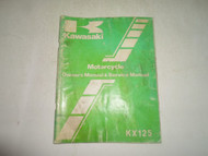 1982 Kawasaki KX125 Owners Manual & Service Manual WATER DAMAGED OEM FACTORY
