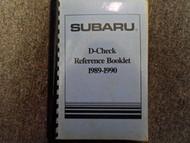 1989 1990 Subaru D Check Reference Booklet Repair Shop Manual FACTORY OEM BOOK