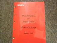 2003 ISUZU Discontinued Superseded Illustrated Service Parts Catalog Manual OEM