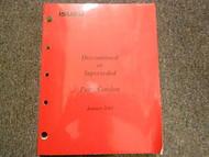 2001 ISUZU Discontinued Superseded Illustrated Service Parts Catalog Manual OEM
