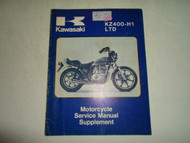 1980 Kawasaki KZ400-H1 LTD Motorcycle Service Manual Supplement MINOR WEAR