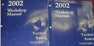 2002 FORD TAURUS MERCURY SABLE Service Shop Repair Manual Set 2 VOLUME OEM