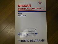 1988 Nissan Stanza Wagon Multi 4WD SGL Wiring Diagram Service Repair Shop Manual