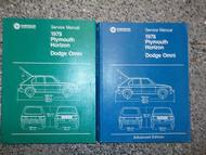 1978 DODGE OMNI PLYMOUTH HORIZON Service Shop Repair Manual FACTORY SET OEM HUGE