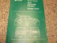1978 DODGE OMNI PLYMOUTH HORIZON Service Shop Repair Manual FIRST EDITION OEM 78