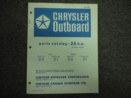 1973 Chrysler Outboard 25 HP Parts Catalog Manual Tille FACTORY