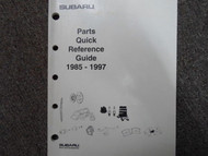 1985 1997 Subaru Parts Quick Reference Guide Service Repair Shop Manual 88 90 95