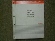 2001 Isuzu Service Pricing System List Service Manual Factory OEM Book