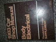 1983 Mercury Cougar Service Shop Manual Supplement OEM