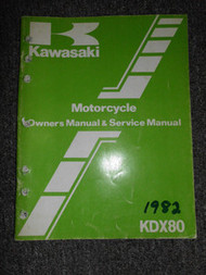 1982 Kawasaki KDX80 Service Repair Shop Owners Manual OEM FADED DAMAGED BOOK 82