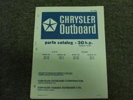 1972 Chrysler Outboard 30 HP Parts Catalog Manual Tille