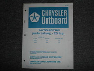 1968 Chrysler Outboard 20 HP Parts Catalog Autolectric