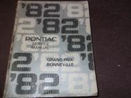 1982 GM Pontiac Grand Prix & Bonneville Service Shop Repair Manual OEM Factory