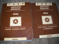 1992 Jeep Cherokee Wagoneer Wrangler Service Shop Repair Manual Set DEALERSHIP