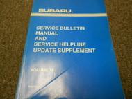 1996 Subaru Service Bulletin Manual & Service Help Line Update Supplement Vol 18