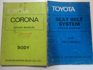 1974 1975 Toyota Corona Body Service Repair Shop Manual 2 Volume Set OEM Books