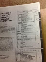 1991 Cadillac ALLANTE Service Shop Repair Manual Set W Product Publication + New