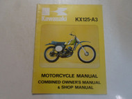1976 Kawasaki KX125-A3 Combined Owner's Manual & Shop Manual FACTORY OEM 76 x