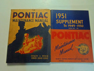 1949 1951 Pontiac Maintenance Manual Series 2000 2200 2V SET STAINED WORN w/supp