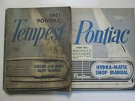1961 GM Pontiac TEMPEST Service Repair Shop Manual 2 Volume Set Factory OEM Used