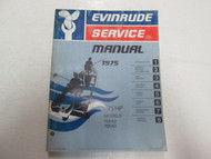 1975 Evinrude Service Shop Manual 75 HP Models 75542 75543 WATER FADED WORN