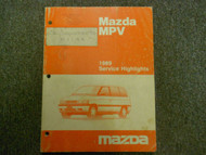 1989 Mazda MPV Service Highlights Service Shop Manual OEM BOOK 89 FACTORY X