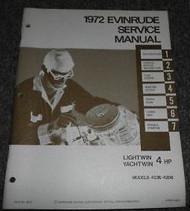 1972 EVINRUDE LIGHTWIN YACHTWIN 4HP 4 HP Service Shop Repair Manual Factory X