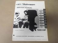 1971 Johnson Outboards Service Manual 100 HP 100ESL71 OEM Boat x