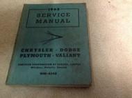 1959 1962 CHRYSLER DODGE PLYMOUTH VALIANT Service Shop Repair Manual WM-4548 OEM