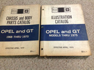 1968 1969 1970 1972 1973 1975 BUICK OPEL & OPEL GT Parts Catalog Manual SET x