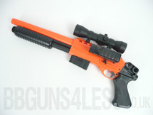 Double Eagle M47 B2 BB Pump Action Shotgun with Scope & adjustable LED cross hair  in Orange