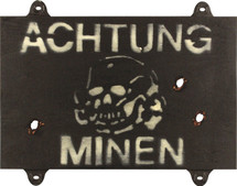 Achtung Minen Sign - German Style Military Sign