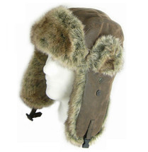 Trapper Hat Army Russian Flying Aviator FAUX Leather & Fur Ear Flaps