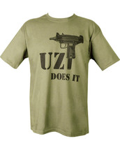 Uzi T-Shirt - Uzi Does It in olive green