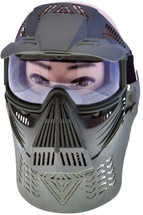 Pro BB gun Protection mask in green with plastic visor